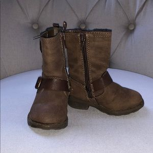 Brown mid calf boots